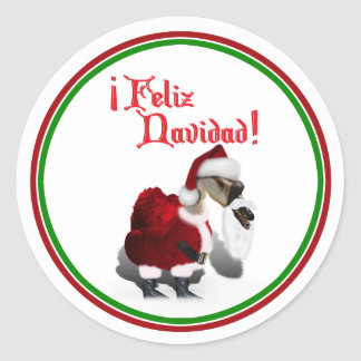Feliz Navidad - ganso tonto de Santa Pegatina Redonda