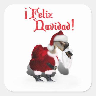 Feliz Navidad - ganso tonto de Santa Pegatina Cuadradas