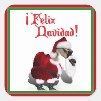 Feliz Navidad - ganso tonto de Santa Pegatinas Cuadradas