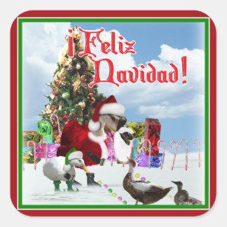 Feliz Navidad - ganso w/Ducks de Santa del navidad Calcomanias Cuadradas