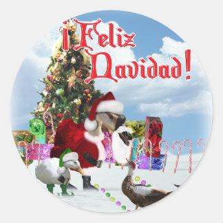 Feliz Navidad - ganso w/Ducks de Santa del navidad Pegatina Redonda