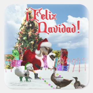 Feliz Navidad - ganso w/Ducks de Santa del navidad Calcomania Cuadradas Personalizadas