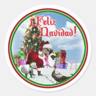 Feliz Navidad - ganso w/Ducks de Santa del navidad Etiquetas Redondas