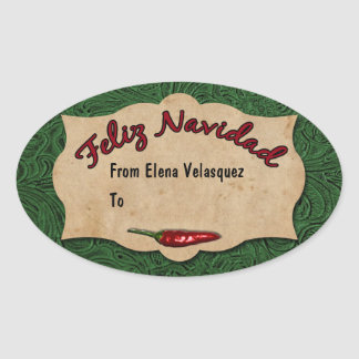 Feliz Navidad Green Leather Personalized Gift Tag