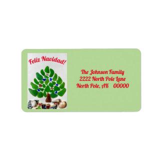 Feliz Navidad Green Sea Glass Tree Address Labels