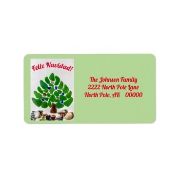 Beach Themed Feliz Navidad Green Sea Glass Tree Address Labels