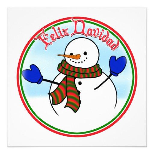 Feliz Navidad - Happy Snowman w/Blue Mittens Invitations