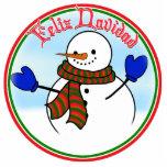 Feliz Navidad - Happy Snowman w/Blue Mittens Photo Cut Out