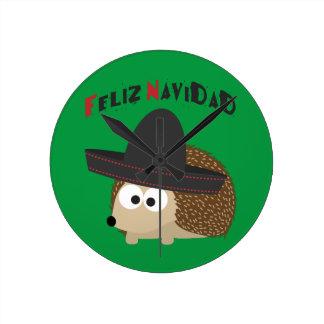 Feliz Navidad Hedgehog Round Clock