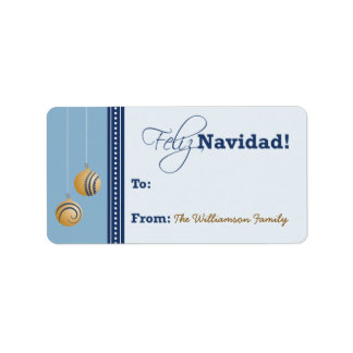 Feliz Navidad Holiday Gift Tag (baby blue)