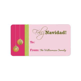 Feliz Navidad Holiday Gift Tag (fuchsia)