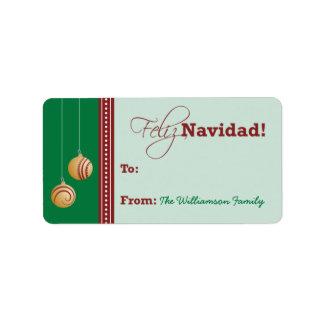 Feliz Navidad Holiday Gift Tag (green)