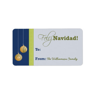 Feliz Navidad Holiday Gift Tag (navy blue)
