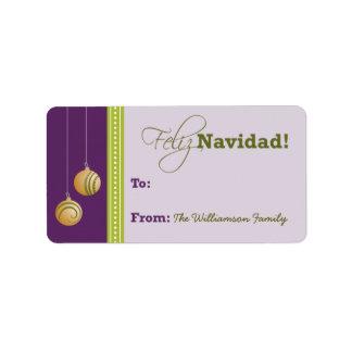 Feliz Navidad Holiday Gift Tag (purple)