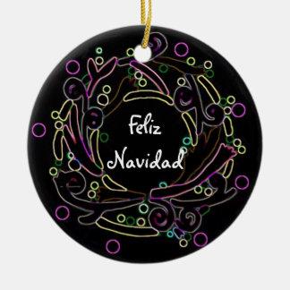 Feliz Navidad Holiday Wreath Personalized Ornament