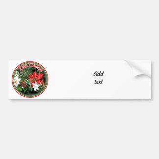 Feliz Navidad - Horn Ornament with Poinsettias Car Bumper Sticker