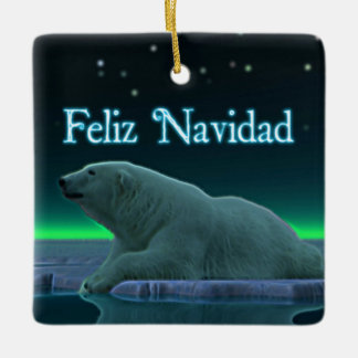 Feliz Navidad - Ice Edge Polar Bear Ceramic Ornament