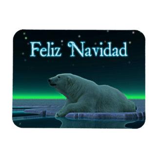 Feliz Navidad - Ice Edge Polar Bear Magnet