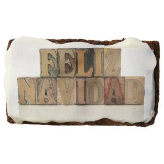 Feliz Navidad in letterpress wood typ Chocolate Brownie