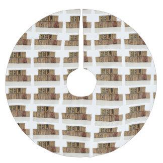 Feliz navidad in letterpress wood type brushed polyester tree skirt