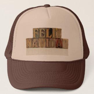 feliz navidad in letterpress wood type hat