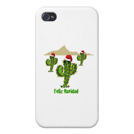 Feliz Navidad - luces del Saguaro del navidad de A iPhone 4 Funda