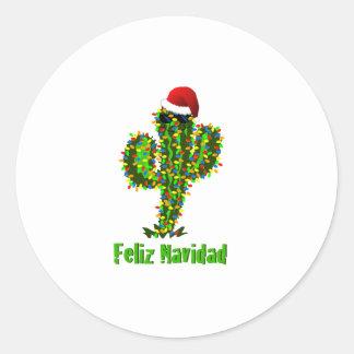 Feliz Navidad - luces del Saguaro del navidad de Pegatina Redonda