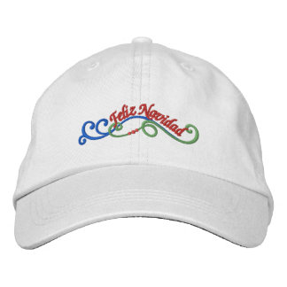 Feliz Navidad Merry Christmas Embroidered Baseball Hat