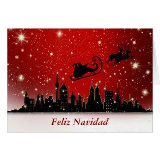 Feliz Navidad Merry Christmas in Spanish and santa Greeting Cards