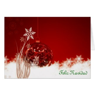 Feliz Navidad Merry Christmas in Spanish baubles Greeting Cards