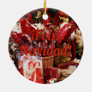 ¡Feliz Navidad! Merry Christmas in Spanish rf Double-Sided Ceramic Round Christmas Ornament