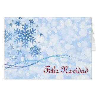 Feliz Navidad Merry Christmas in Spanish snowflake Card