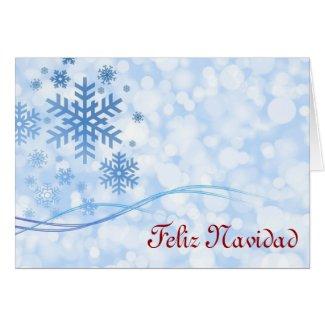 Feliz Navidad Merry Christmas in Spanish snowflake Greeting Cards