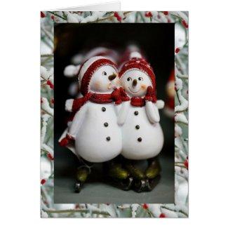 Feliz Navidad Merry Christmas in Spanish Snowmen Cards