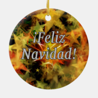 ¡Feliz Navidad! Merry Christmas in Spanish wf Double-Sided Ceramic Round Christmas Ornament