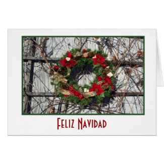 Feliz Navidad Merry Christmas in Spanish wreath Greeting Card