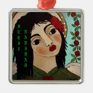 Feliz Navidad Mexican Angel Metal Ornament