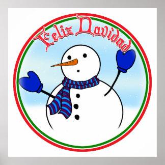 Feliz Navidad - muñeco de nieve lindo con las mano Posters