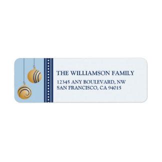 Feliz Navidad Ornament Return Address (baby blue) Label