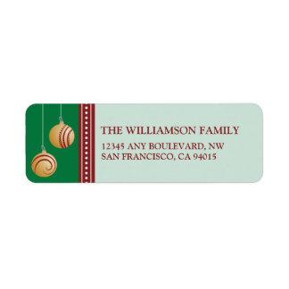 Feliz Navidad Ornament Return Address (green) Label