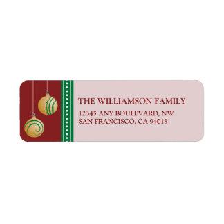 Feliz Navidad Ornament Return Address Labels (red)