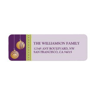 Feliz Navidad Ornament Return Address (purple) Label