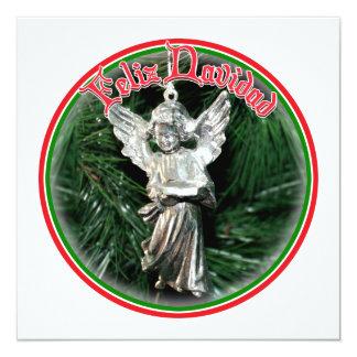 Feliz Navidad - ornamento de plata del ángel Comunicados