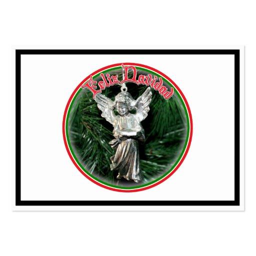 Feliz Navidad - ornamento de plata del ángel Plantillas De Tarjeta De Negocio