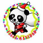 Feliz Navidad - oso de panda lindo del dibujo anim Escultura Fotográfica