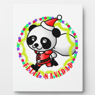 Feliz Navidad - oso de panda lindo del dibujo anim Placas