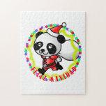 Feliz Navidad - oso de panda lindo del dibujo anim Puzzles Con Fotos