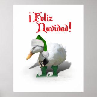 Feliz Navidad - pato del duende del ayudante de Posters