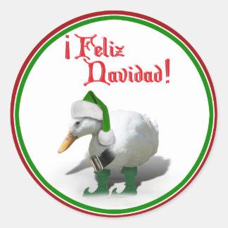 Feliz Navidad - pato del duende del ayudante de Etiqueta Redonda