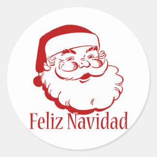Feliz Navidad Pegatina Redonda